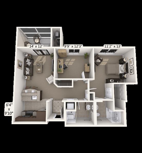 Crescendo w/ Den 1 Bedroom Apartment Floor Plan