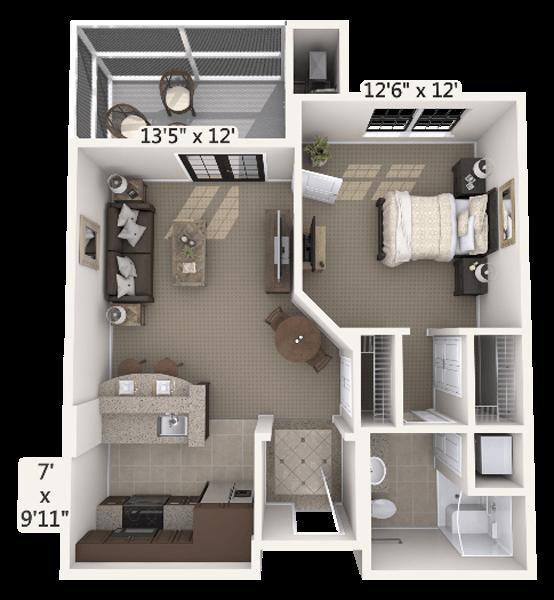 Harmony 1 Bedroom Apartment Floor Plan