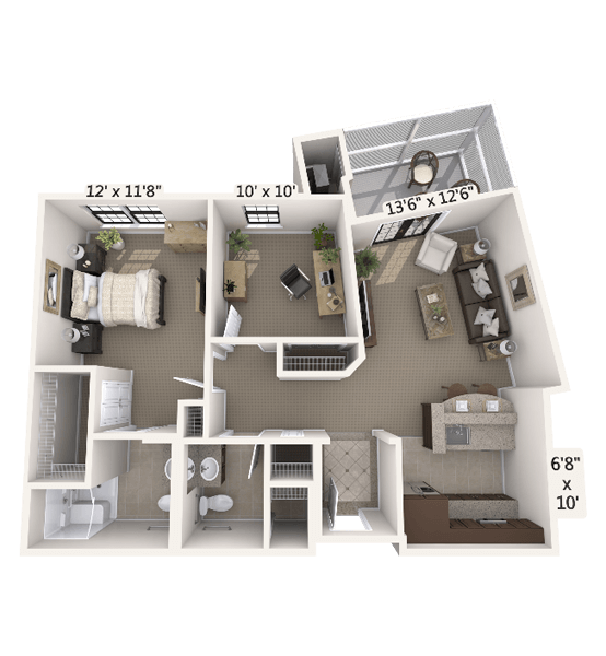 Melody w/ Den 1 Bedroom Apartment Floor Plan