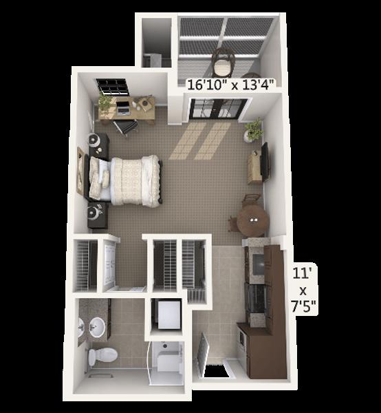 Prelude 0 Bedroom Apartment Floor Plan