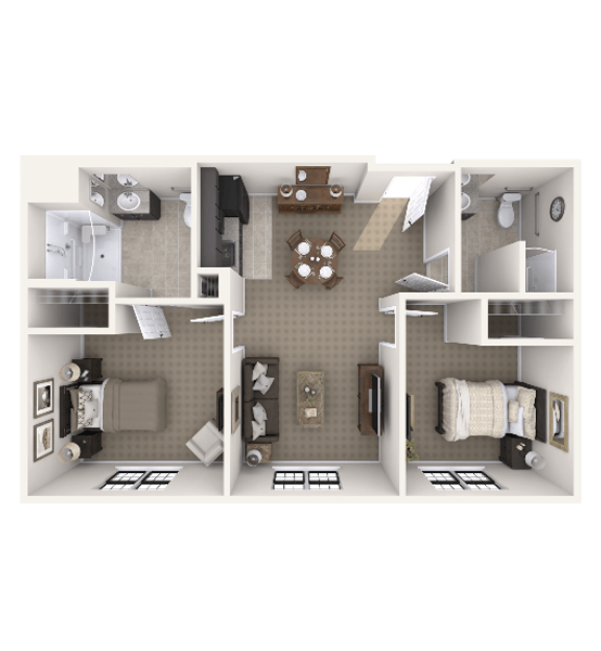 Aspen 2 Bedroom Apartment Floor Plan
