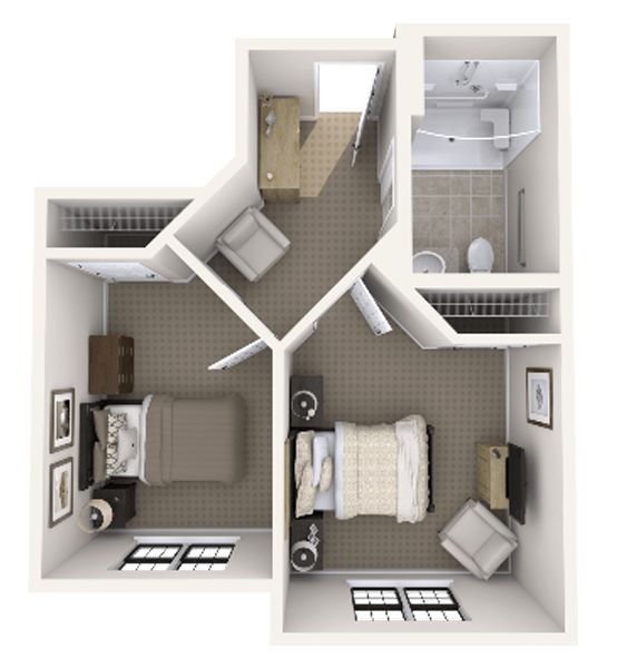Crane 1 Bedroom Apartment Floor Plan