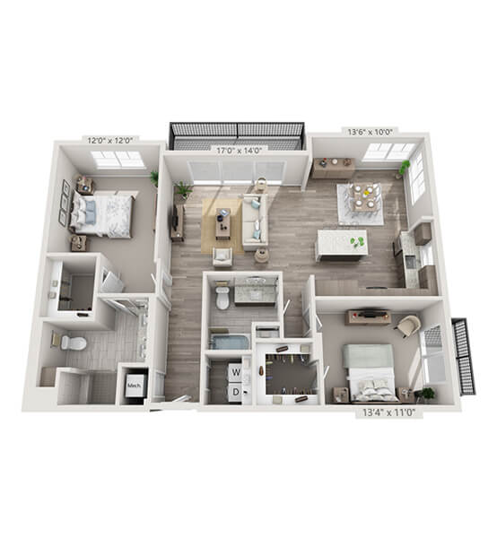 Symphony 2 Bedroom Apartment Floor Plan