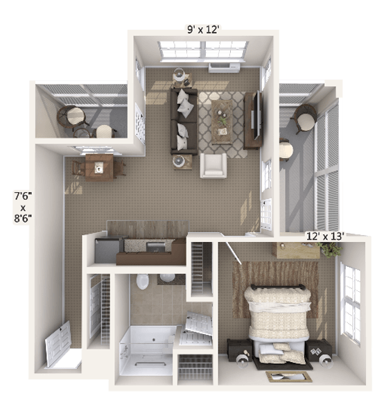 Crescendo 1 Bedroom Apartment Floor Plan