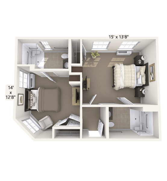 Duet Companion Suite 1 Bedroom Apartment Floor Plan