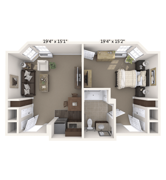 Encore 1 Bedroom Apartment Floor Plan