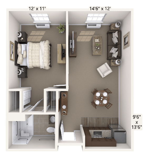 Tempo 1 Bedroom Apartment Floor Plan