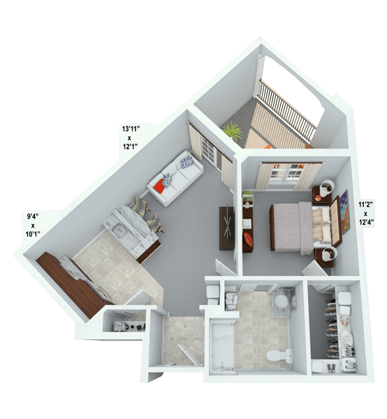 Concerto 1 Bedroom Apartment Floor Plan