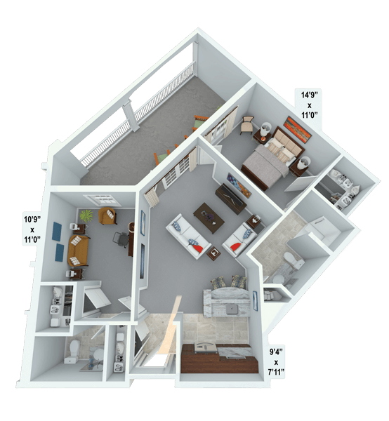 Interlude w/ Den 1 Bedroom Apartment Floor Plan