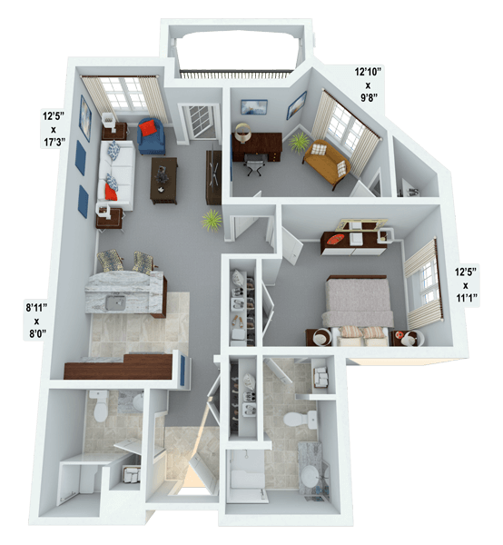 Lyric w/ Den 1 Bedroom Apartment Floor Plan