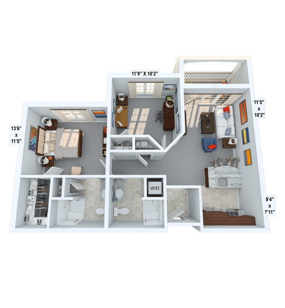 Rhythm w/ Den 1 Bedroom Apartment Floor Plan