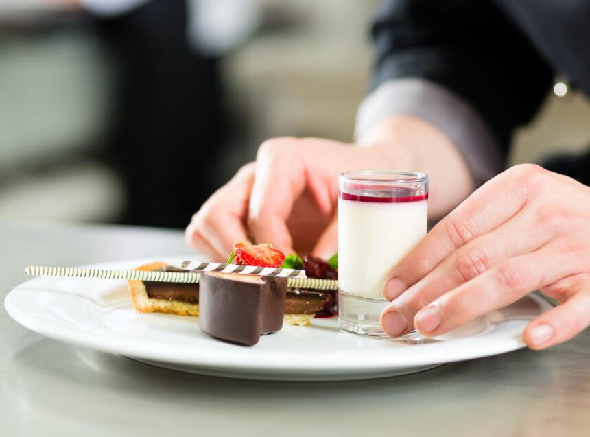plating an elegant dessert
