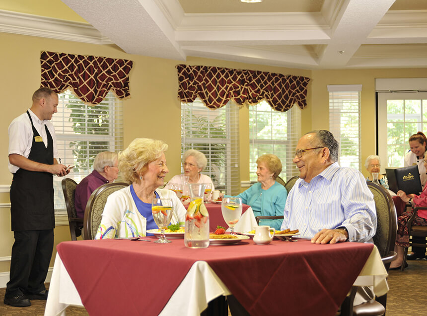 independent living residents enjoying lunch in a common dining room
