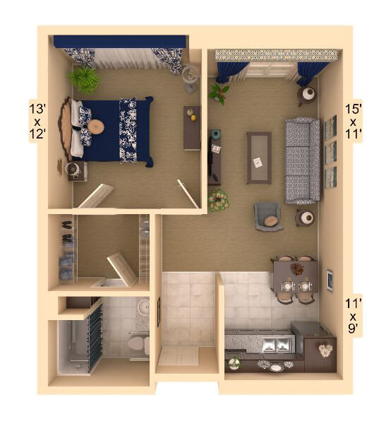 Harmony 1 Bedroom Apartment Floor Plan