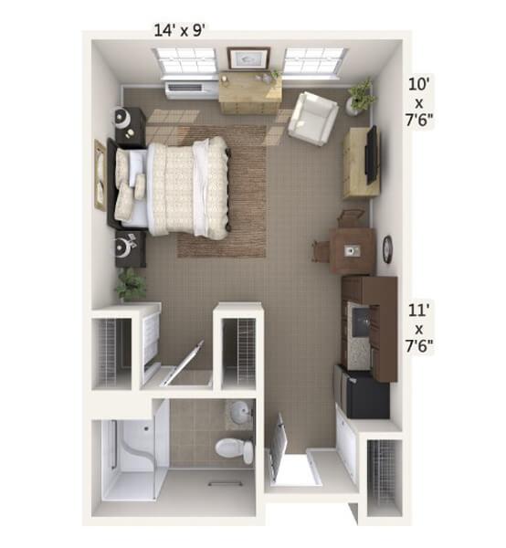 Serenade 0 Bedroom Apartment Floor Plan