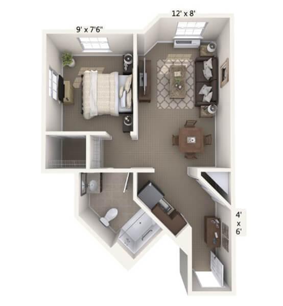 Crescendo 1 Bedroom Apartment Floor Plan