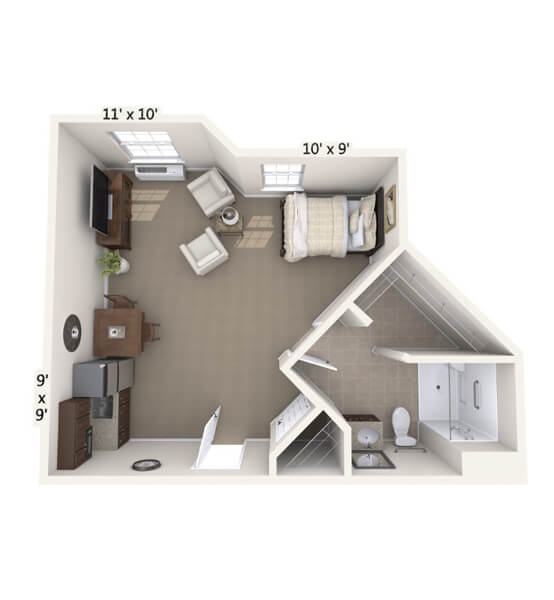 Melody 0 Bedroom Apartment Floor Plan