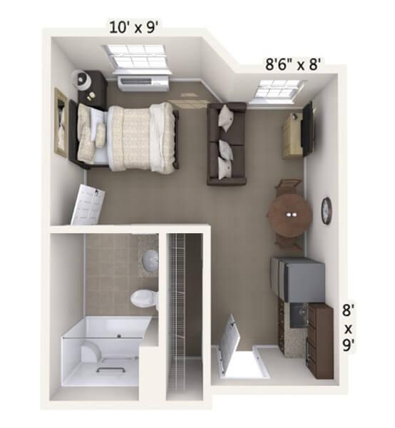 Minuet 0 Bedroom Apartment Floor Plan