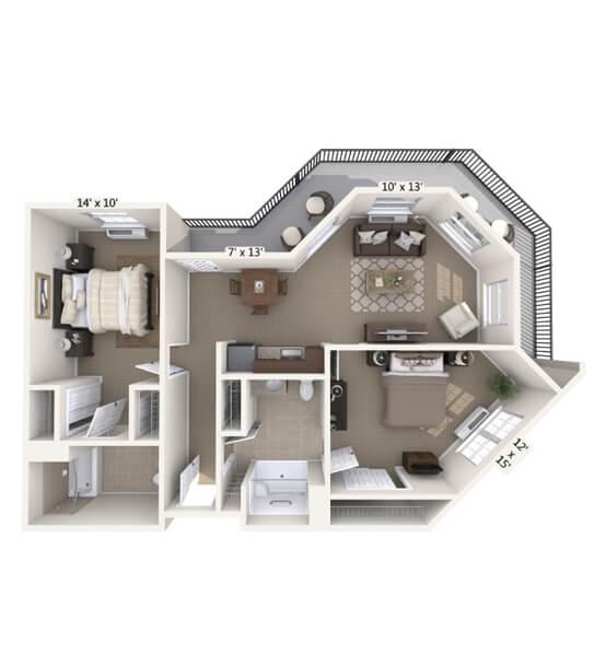 Symphony 2 Bedroom Apartment Floor Plan