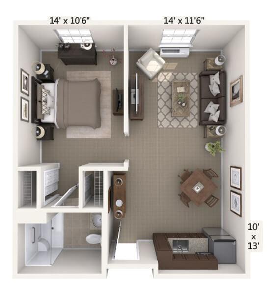Tempo 1 Bedroom Apartment Floor Plan