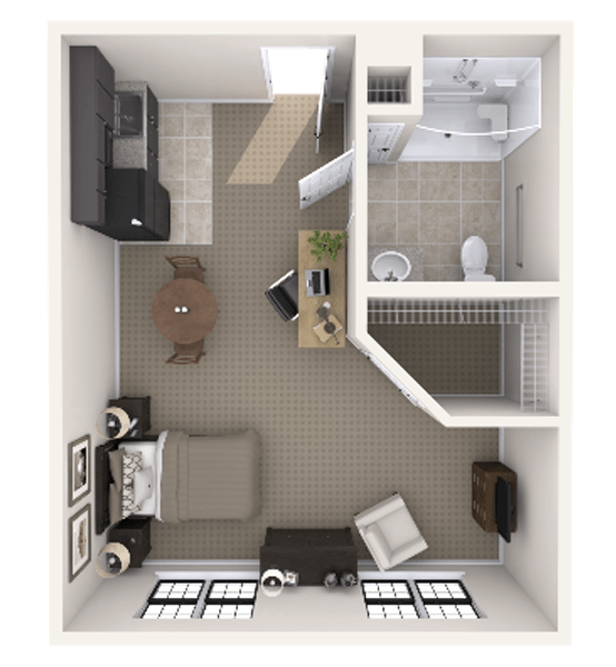 Durango 0 Bedroom Apartment Floor Plan