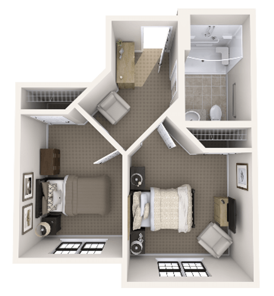 Osprey 1 Bedroom Apartment Floor Plan