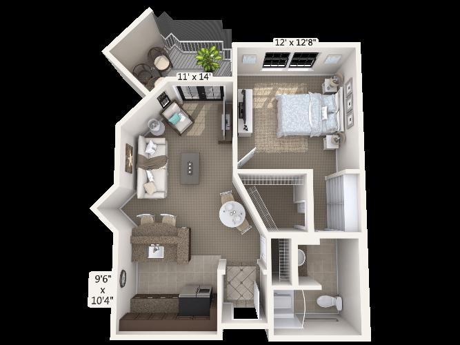 Cantata 1 Bedroom Apartment Floor Plan