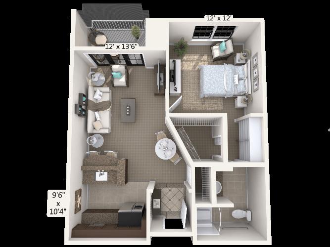 Concerto 1 Bedroom Apartment Floor Plan