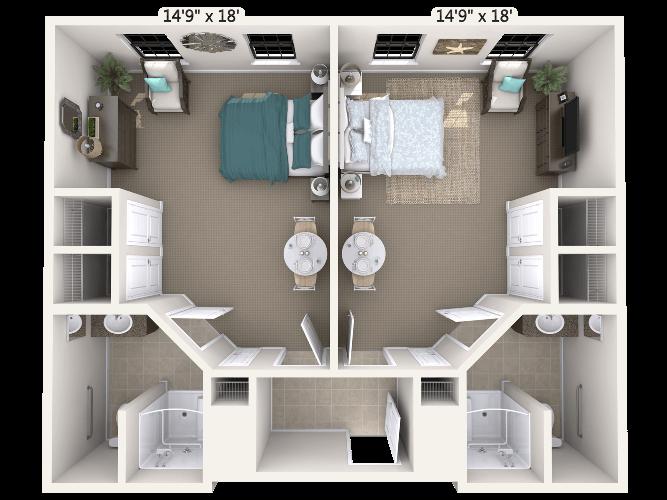 Duet Companion Suite 2 Bedroom Apartment Floor Plan
