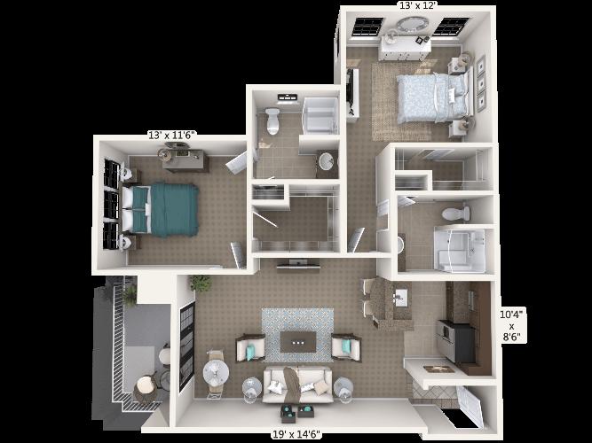 Encore 2 Bedroom Apartment Floor Plan