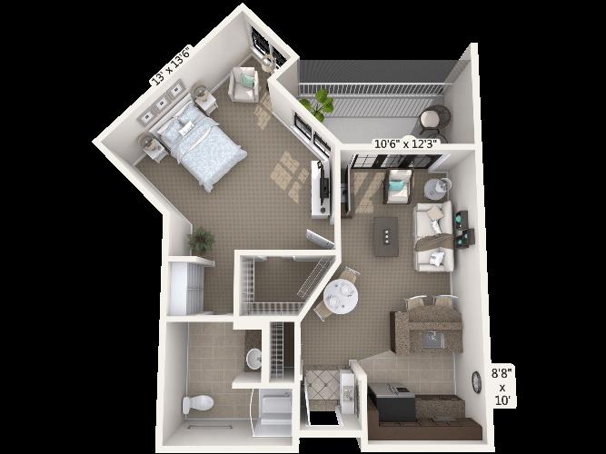 Interlude 1 Bedroom Apartment Floor Plan