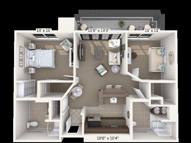 Lyric w/ Den 1 Bedroom Apartment Floor Plan