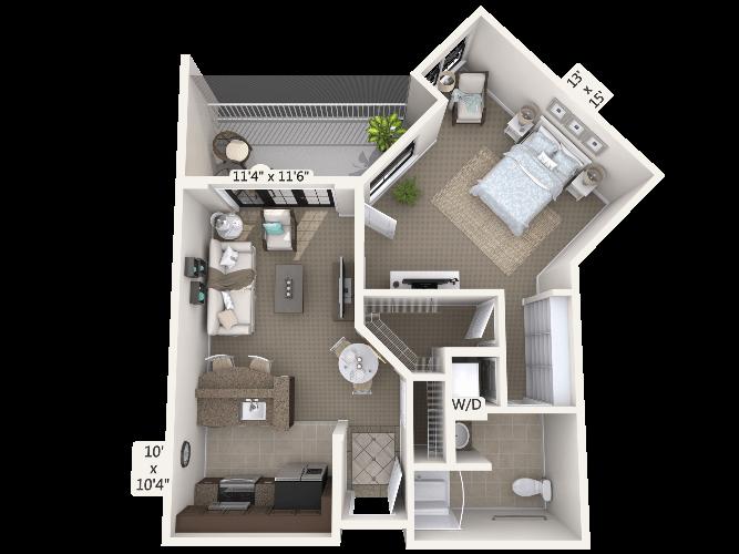 Recital 1 Bedroom Apartment Floor Plan