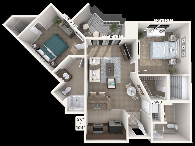 Rhapsody 2 Bedroom Apartment Floor Plan