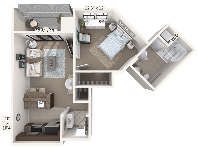Serenade 1 Bedroom Apartment Floor Plan