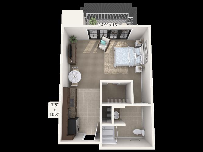 Sonata 0 Bedroom Apartment Floor Plan