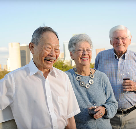 residents enjoy an afternoon at the sky lounge